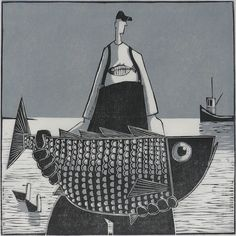 """Sam"" by David Witbeck. 13 x 13 Woodcut, Limited Edition.  Available at Maine Art Paintings & Sculpture."