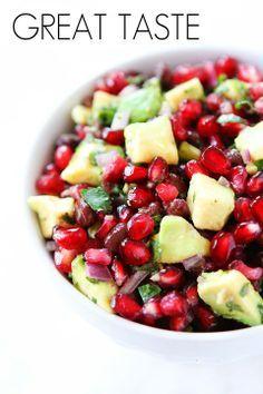 salad, healthi salsa, appet, avocado salsa, black beans, food, yummi, pomegranates, salsa recipes