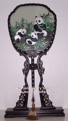 Pandas, double-sided embroidery work, one embroidery two identical sides, Chinese Suzhou silk embroidery art, Su Embroidery Studio
