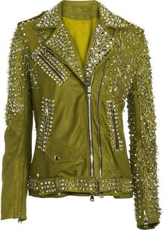 c87021a52e7f Customized Women Green Genuine Elegant Leather Jacket Heavy Silver Studded  Features  100 % Genuine Cowhide Leather to MM Cowhide Milled Leather used  Fine ...