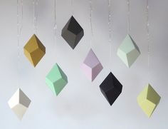 DIY Geometric Paper Ornaments - Set of 8 Paper Polyhedra Templates - Classic Palette. via Etsy. Paper Crafts For Kids, Diy Paper, Paper Crafting, Paper Art, Arts And Crafts, Diy Crafts, Handmade Christmas Decorations, Christmas Crafts, Christmas Ornaments