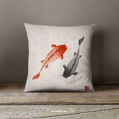 Oriental Pillow   Koi Pillow  Koi Carps  Asian by wfrancisdesign