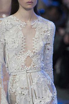 Sheer dress with fine beadwork; embellished fashion details // Elie Saab