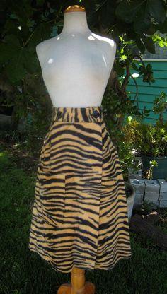RARE Vintage 50s Faux Fur TIGER PRINT Skirt 1950s by Flipsville, $250.00