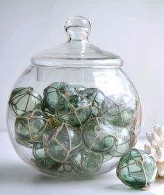 Green Vintage Japanese Fishing Floats with netting Nautical Bathroom Design Ideas, Nautical Bathrooms, Nautical Home, Bathroom Ideas, Glass Floats, Coastal Cottage, Coastal Living, Coastal Decor, Pendant Light Fixtures