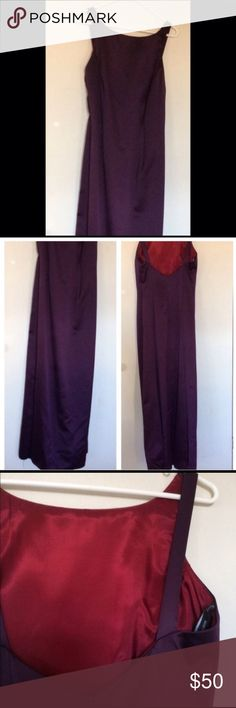 """Formal dress Elegant purple with burgundy lining, fitted at torso. Bridesmaid, prom or homecoming. Never altered but can be altered to fit. Never worn, tags attached. Length 45 1/2"""" from just above chest to bottom hem. Rhapsody Dresses Wedding"""