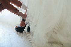 Black Shoes for the Bride Princess White Dress