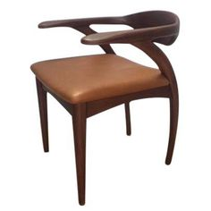 Image of American Walnut Leather Dining Chairs - Set of 6