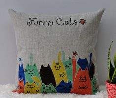 Fashion Colorful Cats Cushion Cover/Home and Living Pillow Case/Cotton Linen Bedding Cushion Case