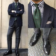 "Navy pinhead jacket by Ringjacket. Navy butcher stripe spread collar shirt by Massimo Pionbo. Pattern puff pocketsquare. Green artisan pattern tie by Fmarino. Grey houndstooth pattern trousers by incotex. Black derby shoes by Edward Green ""Dover""."