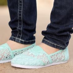 Mint Lace Slip-on Shoes A fun and flirty shoes for your everyday casual look. Comfy and cute! Check my closet for more colors & sizes. Rockland Shoes Flats & Loafers