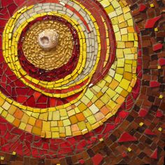 """Kathy Thaden, """"At the Center"""" - 12"""" x 12"""" Geode, tempered glass, Mexican and Italian smalti, stained glass, ceramic shards"""