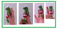 fingerpuppetpatterns of frog, duck and friends. Kikker en eend en hun vriendjes patronen van vingerpoppetjes