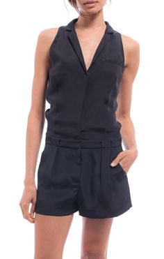 Black Carrie Vest Romper