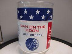 VINTAGE APOLLO 11 USA PATRIOTIC NASA GLASS CUP MAN ON THE MOON MEMORABILIA Vintage Space, Man On The Moon, Apollo 11, Nasa, Tableware, Ebay, Dinnerware, Tablewares, Dishes
