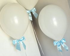 Baptism Ideas for Boys. Handcrafted in 1-2 Business Days. White Balloons with Baby Blue Bows 8CT + Curling Ribbon.