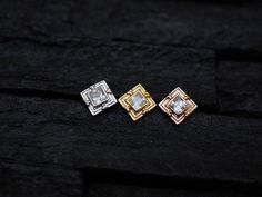 Square CZ diamond cluster trinity ball push in bio flexible tragus /forward helix / lip / medusa piercing by PiercingRoomByJay on Etsy Medusa Piercing, Piercings, Forward Helix, Tragus, Gold Rings, Wedding Rings, Brooch, Engagement Rings, Diamond