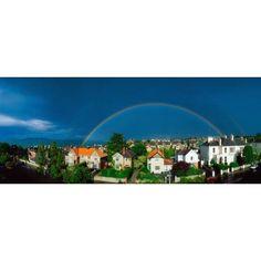 Rainbow Over Housing Monkstown Co Dublin Ireland Canvas Art - The Irish Image Collection Design Pics (33 x 13)
