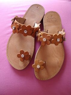 Handmade leather sandals with swarovski crystals by natasaki444, $68.00