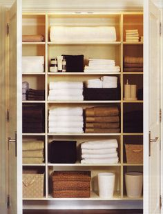 keep your linen closet organized by neatly folding all linens and stacking them by item. Top Organization Tricks to Boost Small Bathroom Space from Bathroom Bliss by Rotator Rod Linen Closet Organization, Closet Storage, Organization Hacks, Closet Shelving, Bathroom Organization, Organizing Ideas, Organising, Hallway Closet, Bathroom Closet