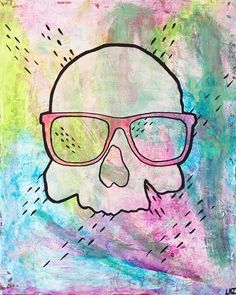 Skull with dashes painting by pop artist Liz Kelly Zook