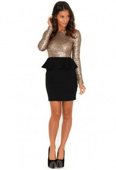 Mista Premium Sequin Peplum Dress-dresses-missguided
