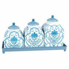 4 Piece Jar & Tray Set in Blue & White