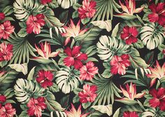 Puahi Black - a Tropical Botanical Vintage style Hawaiian Fabric with Hibiscus and Bird of Paradise ...