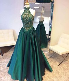 Elegant Green high neck long prom dress, unique green evening dress, green formal dress for teens