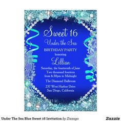 Under The Sea Blue Sweet 16 Invitation