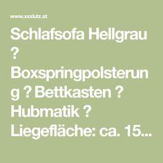 Schlafsofa Hellgrau ✓ Boxspringpolsterung ✓ Bettkasten ✓ Hubmatik ✓ Liegefläche: ca. 150x200 cm ✓ echt bezogener Rücken ✓ jetzt online bestellen! Repurposed, Grey, Homes