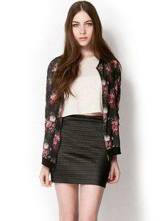 Floral Peony Print Zipper Jacket Black
