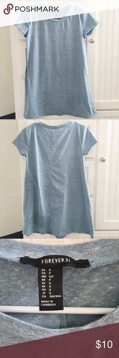 Blue T-Shirt Dress Super cute and casual t-shirt dress! Greyish blue color (mainly blue though) I would always wear it with converse for a nice casual look!! Would probably pair with a jean jacket as well :) no trades plz Forever 21 Dresses