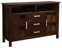 """Simpli Home - Kitchener Tall TV Stand for Most Flat-Panel TVs Up to 55"""" - Walnut - 3AXCRIDTVS - Best Buy"""