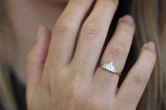Art Deco engagement ring with baguette diamonds
