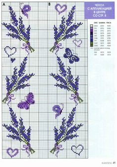 Lavender Cross Stitch Patterns, Cross Stitch Bookmarks, Cat Cross Stitches, Cross Stitch Alphabet, Cross Stitch Flowers, Cross Stitch Charts, Cross Stitching, Cross Stitch Embroidery, Lavender Crafts