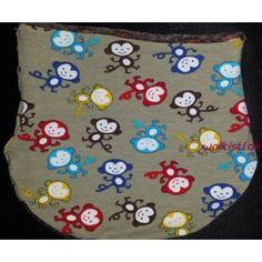 Großzügig dehnbare Halssocke für Kopfumfang 54-58 inGrau mit fröhlich bunten Äffchen.Sieist aus weichem Baumwolljersey gearbeitet. Das Futter besteht a
