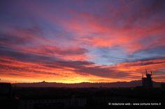 Uno spettacolare #tramonto su #Torino. Foto da spaziotorino.it #sunset
