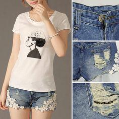 Women Shorts Fashion Jeans Shorts Flower Lace Short Pants Casual Hot Pants