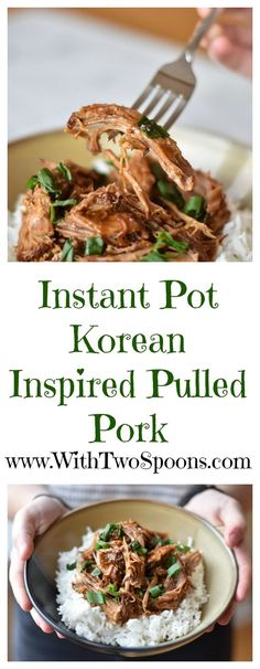 Instant Pot Korean Inspired Pulled Pork. Love from my family to yours! Find the recipe at www.WithTwoSpoons.com.