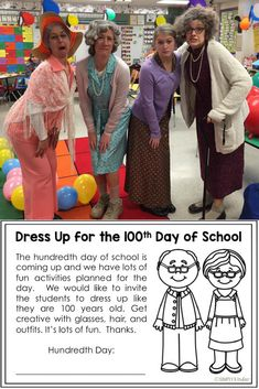 Dress up for the 100th Day of School. A fun activity for students and teachers. Download our free flyer to encourage your students to dress up.