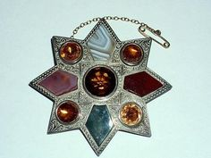 LARGE ANTIQUE VICTORIAN SOLID SILVER SCOTTISH AGATE & CITRINE BROOCH