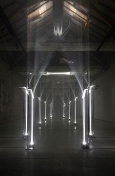 an immaterial arcade of hyperbolic arches: Arcades by Troika (Buda Island, Kortrijk, #installation architecture| http://installation-architecture.lemoncoin.org