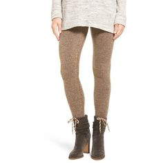 Women's Hue Sweater Leggings ($48) ❤ liked on Polyvore featuring pants, leggings, bamboo, bamboo pants, white knit pants, white leggings, white legging pants and white trousers