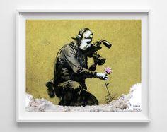 Banksy Print, Camera Man and Flower, Street Graffiti Art, Urban Artist, Home Decor, Stencil Art, Street Art, Home Decor, Fathers Day Gift