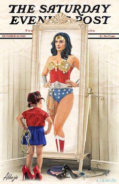 Drawing Superhero Wonder Woman Saturday Evening Post recreation by Al Abbazia