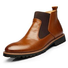 Buy Men British Style Vintage Pointed Toe Genuine Leather Elastic Panels Boots ,Botas masculinas Bottines pour hommes,High Quality Genuine Leather Men's Ankle Boots Bullock Rubber Sole Chelsea Shoes Plus Size at Wish - Shopping Made Fun Chelsea Shoes, Botas Chelsea, Leather Chelsea Boots, Soft Leather, Leather Shoes, Leather Men, Cowhide Leather, Suede Leather, Black Leather