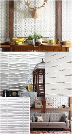 Textured wall tiles.