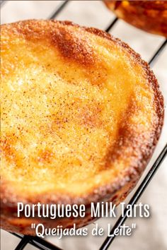 Portuguese Milk Tarts Queijadas de Leite are a traditional Portuguese dessert recipe made with simple ingredients Milk sugar butter eggs and a little flour bake. Bakery Recipes, Milk Recipes, Tart Recipes, Cookie Recipes, Dessert Recipes, Portuguese Tarts, Portuguese Desserts, Portuguese Recipes, Portuguese Food