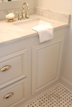 Master bath- love the basket weave marble floor and marble countertop